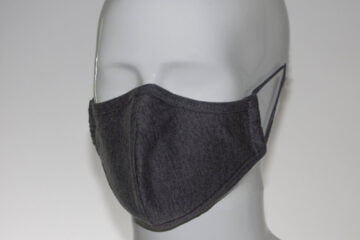 front of grey washable face mask